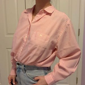 Vintage pink and white striped button up